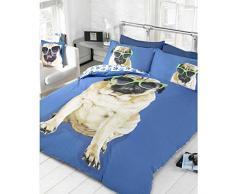 Set da letto, formato da copripiumino con immagini di cani di razza Carlino e 2 federe per cuscino