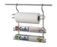 Metaltex serie City Line - Mensola porta rotoli da cucina a 3 piani - (350718)