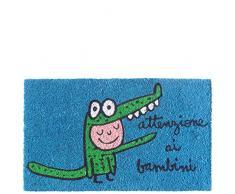 laroom Zerbino Motivo Attenzione ai Bambini, Jute And Base Antiscivolo, Blu, 40Â x 70Â x 1.8Â cm