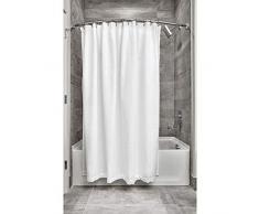 iDesign Tende per Doccia Design a Nido dApe, Tenda per Vasca da Bagno x 183,0 cm in Poliestere, Bianco