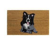 JVL - Zerbino in lattice con retro in fibra di cocco, motivo cane, 45 x 75 cm, colore: Marrone, fibra di cocco e lattice., Marrone, 45 x 75 cm
