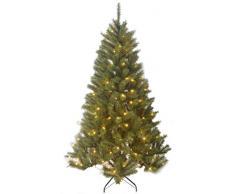 Black Box Trees 1002211-02 Albero di Natale artificiale Delmonto illuminato, altezza 155 cm, diametro 102 cm, 150 Luci a LED, 511 rami, PVC rigido e morbido ago, punte pianta, luce bianca calda