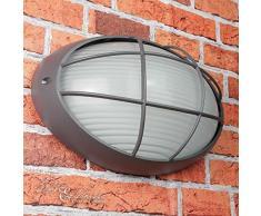 Lampada da parete marittima E27 AMSTERDAM resistente alle intemperie B:32cm griglia ovale da esterno lampada da esterno antracite porta della casa