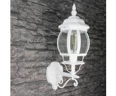 Lampada da parete Brest, colore bianco, E27, 230 V, stile rustico, adatta ad esterni, per giardino