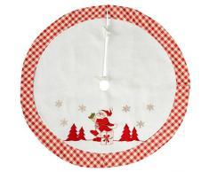 WeRChristmas-Checked Design Babbo Natale albero di Natale decorazione gonna, Tessuto, rosso/bianco, 107cm