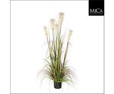 Decorazioni Mica 987718 piuma Erba Foxtail Bianco nel vaso in plastica Pianta Artificiale, PVC, Verde, 20 x 20 x 150 cm