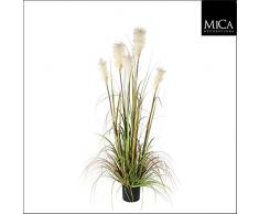 Decorazioni Mica 987718Â Piuma Erba Foxtail Bianco nel Vaso in plastica Pianta Artificiale, PVC, Verde, 20Â x 20Â x 150Â cm