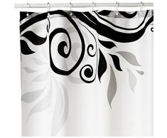 Sanilo Tende da doccia, 100% poliestere, Poliestere, Fiore nero, 180 x 180 cm