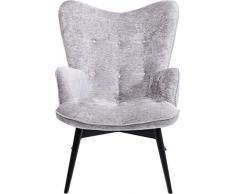 KARE Design Vicky Velvet - Poltrona Lounge in Velluto, con Struttura in Legno Scuro