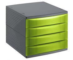 Rotho 1108005519 cassetti Box scatola da ufficio Quadra in plastica (PS), 4 cassetti chiusi, formato A4, di alta qualità, circa 37 x 28 x 25 cm, antracite/verde ufficio Box, plastica