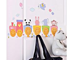 Lo+DeModa Happy Train Zoo Vinile Decorativo con 4 Appendiabiti, Pvc,, 15x35x0.14000000000000001 cm