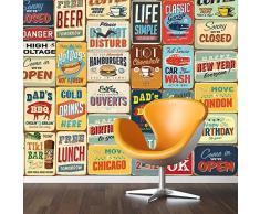 Walplus 152x161 cm adesivi da parete VINTAGE SEGNALE METALLICO Collage 1 CONFEZIONE rimovibile autoadesivo arte murale decalcomania vinile DECORAZIONE CASA fai-da-te VIVENTE ufficio camera letto