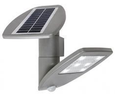 Lutec Zeta Lampada da Esterno LED Pannello Solare Integrato 2.4 W, Grigio, 23.1 x 13 cm