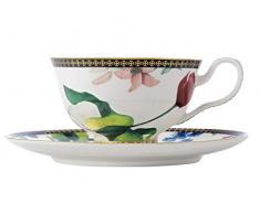 Maxwell Williams Tea & Cs Tazzina da caffè e piattino con Design Contessa, Porcellana, Bianco