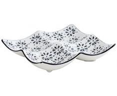 Quid B & W Gres, Bianco/Nero Piatto Quadrato 12x12x2 cm Nero/Bianco