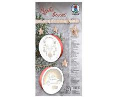 URSUS 21500001 Light Boxes Car and Forest - Set di 2 vetri natalizi illuminati, motivo filigranato a laser, diametro ca. 15,3 cm, con luce LED, bianco, taglia unica
