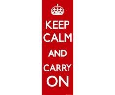 1art1 Motivazione - Keep Calm And Carry On, Rosso Poster per la Porta (158 x 53cm)