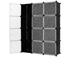 Mobile modulare quadrato 12 scomparti Cubo Armadio Armadietto Guardaroba Scaffale Scarpiera Mobiletto da Bagno (112 x 37 x 148 cm) (NERO)