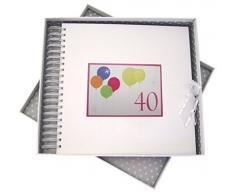 WHITE COTTON CARDS-Biglietto di Auguri per 40esimo Compleanno con Neon e Libro dei ricordi, Motivo: Palloncini, Colore: Bianco