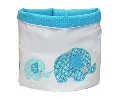 Just Contempo - Cestino portaoggetti in tessuto, con motivo a pois e ricami a forma di elefantini, per giocattoli e piccoli oggetti, 32 x 32 cm, Tessuto, Blu foglia di tè, 32 x 32 cm