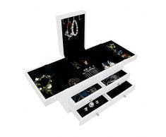 Sotech Cassettiera, Scatola per Gioielli con Scompartimenti, 35 x 20 x 18 cm, Bianco, Materiale: MDF, Numero di Porta Anelli: 1 cassetto