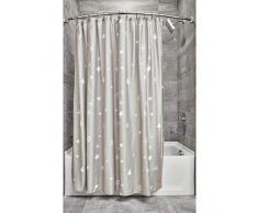 iDesign Tende per Doccia Design Fantasia, Tenda per Vasca da Bagno x 183,0 cm in Poliestere, Nero/Bianco