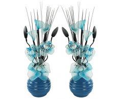 Flourish Creative Florals Abbinabili Coppia di Acqua Blu Fiori Artificiali in Vaso Blu, Decorazioni per la tavola, Accessori per la casa, Regali, Ornamenti, Altezza 32Â cm