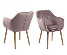 AC Design Furniture - Sedia con braccioli, Colore: Rosa/Rovere