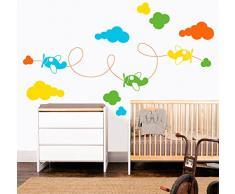 MYVINILO - adesivi murali per bambini - Airplanes / arancione / gialle / verde chiaro / azzuro chiaro