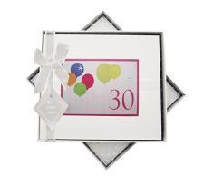 WHITE COTTON CARDS-Guest Book per Il 30° Compleanno, con Neon, Palloncini, Colore: Bianco