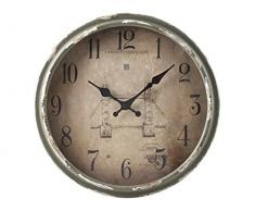 H&H Orologio Parete Vintage Cm34 Arredo E Decorazioni Casa, Grigio/Beige, 34 cm