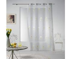 Douceur dIntérieur Tenda a Pannello con Occhielli, 140 x 240 cm, in Voile con Ricamo a Fiori, Colore: Giallo
