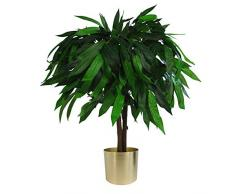 Leaf Design UK - Pianta di Mango Artificiale XL, Vaso in plastica, 80 cm, Colore: Nero