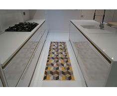 Serdim Rugs Gelback Tappeto Antiscivolo dal Design Geometrico per Cucina e corridoi Multiuso – tappetini, Oro, 80x300cm(26 x910)