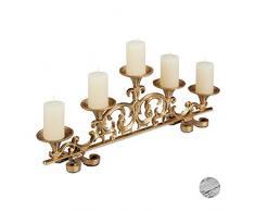Relaxdays Portacandele Antico, a 5 Bracci candelabro, Shabby Chic, Vintage, HLP 20x59x9,5 cm, Dorato, colata, Oro, 1 Pz