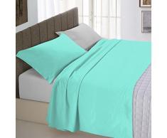 Italian Bed Linen Natural Color Completo Letto Double Face, 100% Cotone, Verde Acqua/Grigio Chiaro, Una Piazza e Mezza