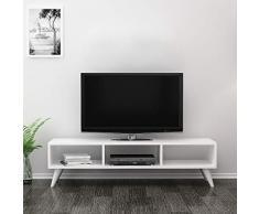 Homemania Mobile Porta TV Manolya, Legno, Bianco, 120x35x40 cm