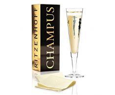 RITZENHOFF - Flute da champagne Vernissage, in cristallo, 200 ml, con eleganti parti in oro e platino, tovagliolo incluso