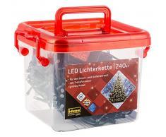 Catena di 240 luci LED color ambra, in pratica scatola con manico, per feste, Natale, decorazione, matrimonio, come luce datmosfera, ca. 21 m