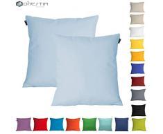 DHestia - Confezione da 2 federe per Cuscini, Decorazione Divano e Letto 45 x 45 cm Azzurro