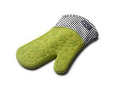 Zeal Silicone Resistente Singolo Guanto da Forno a Righe, in Cotone, Colore: Verde Lime, 28.4Â x 18.5Â x 2Â cm