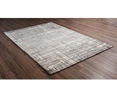 Serdim Rugs Tappeto Moderno per Soggiorno Linea Geometrica Extra Morbido con Spessore 11 mm nei Colori Beige e Grigio (Grigio, 80 x 150 cm)