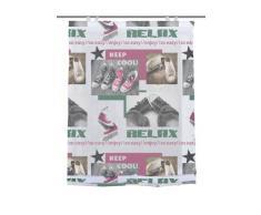 Home Fashion 69326-759 - Tenda a Pacchetto con Stampa Digitale Relax e Ganci, Tessuto Voile, 140 x 80 cm, Colori Rosa e Verde