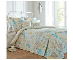 Just Contempo - Copripiumino con abbellimenti in patchwork a tema giardino floreale, set di biancheria da letto, Policotone, carta da zucchero (blu grigio giallo), Doppio