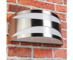 Acciaio inox Luce da parete per esterni Lampada York IP54 Camera umida adatto E27 230V fino a 60W Cortile Giardino