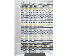 InterDesign Aztec Tenda da doccia con asole rinforzate, Tende doccia tessuto idrorepellente in poliestere con motivo azteco di dimensioni 183,0 cm x 183,0 cm, grigio/giallo scuro