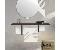 L:A:S Laser Art Style Consolle Ingresso Moderno, Marrone-Panna-Incisione Legno, 90X30 H45 CM