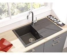 respekta HOUSTON80X50S Lavandino, 60% Materiale Composito di minerali e Fibre di Vetro, 40% Resina, Nero, 80 x 50 cm