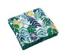 Douceur dIntérieur Cuscino da Pavimento, 45 x 45 x 10 cm, in Cotone, con Stampa Palma, Multicolore, 60 x 60 x 10 cm