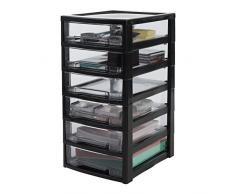 IRIS Ohyama, Scaffale Ufficio 6 cassetti - Intelligente Chiaro Chest - SCC-600, plastica, Nero/Trasparente, 21 L, 32 x 39 x 63